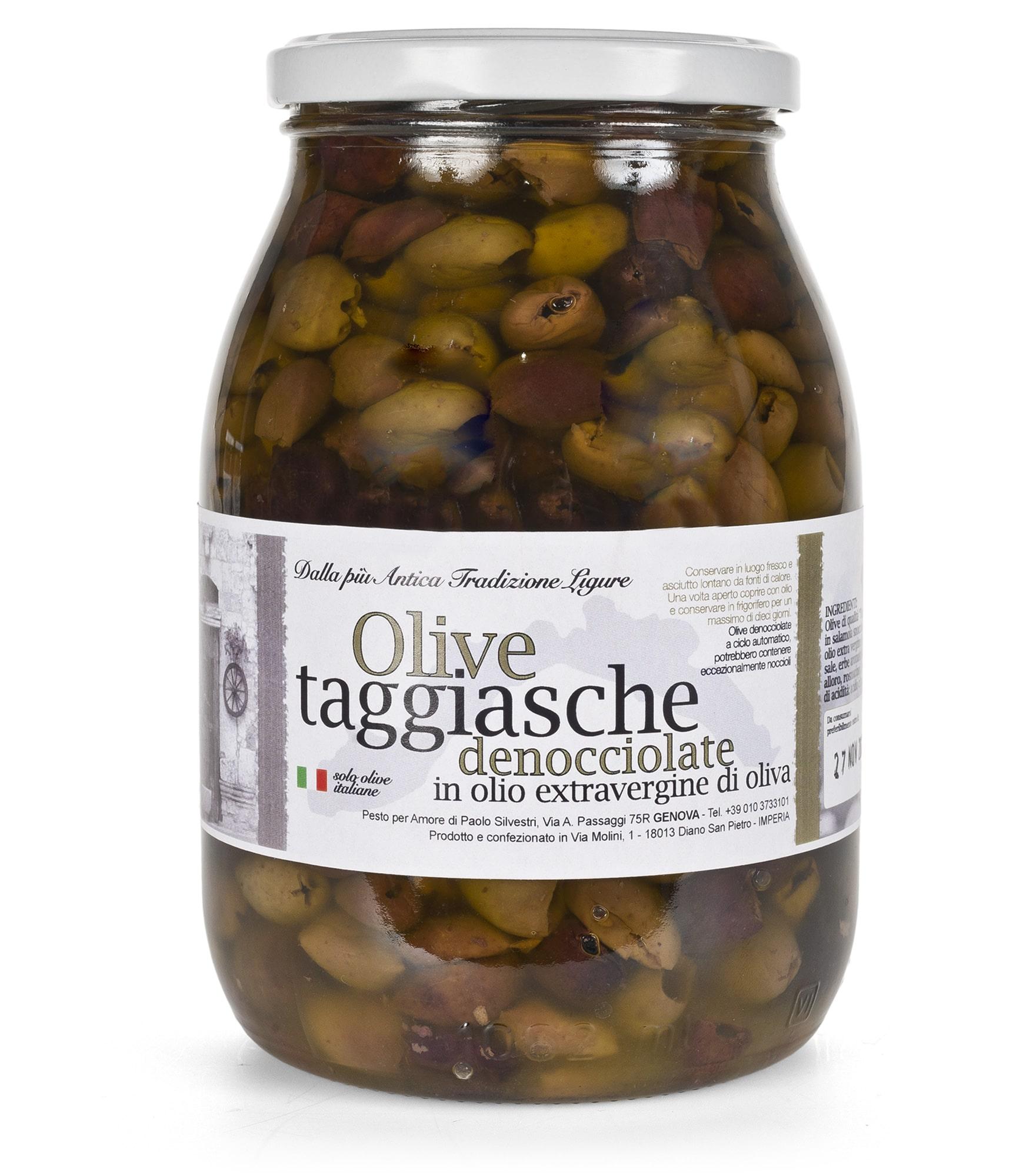 Olive taggiasche denocciolate in vaso da 960 gr