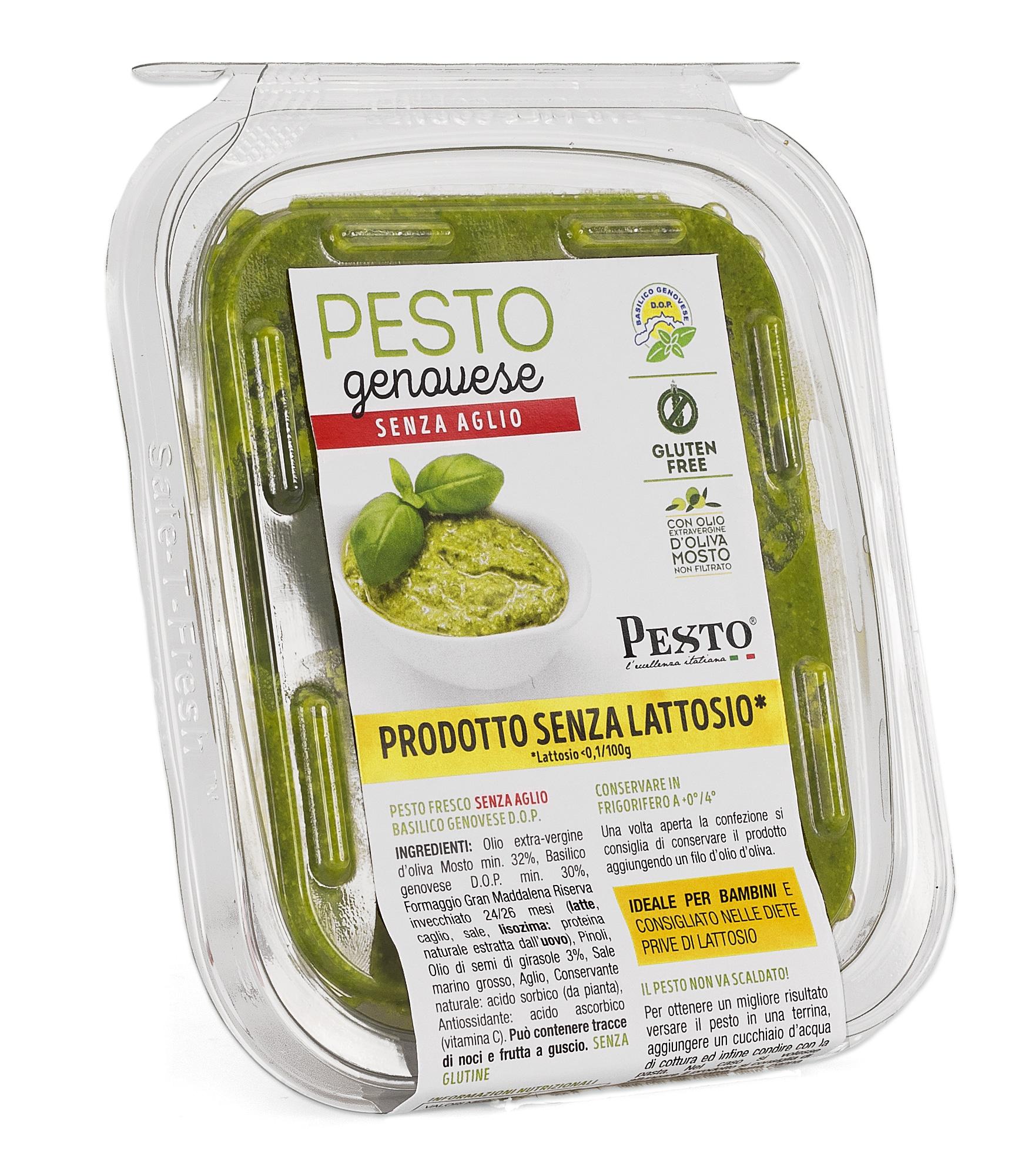 Pesto alla genovese fresco senza aglio in vaschetta 120 gr